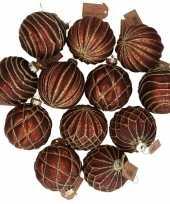 12x glazen kerstballen bruin met goud 8 cm