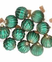 12x glazen kerstballen emerald groen met goud 8 cm