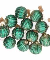 12x glazen kerstballen turquoise blauw met goud 8 cm