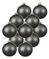 12x grijsblauwe kerstballen 10 cm matte glas kerstversiering