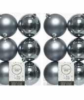 12x grijsblauwe kerstballen 8 cm glanzende matte kunststof plastic kerstversiering