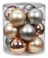 12x growing mountains mix zilver champagne glazen kerstballen 8 cm