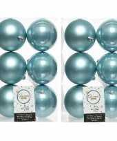 12x ijsblauwe kerstballen 8 cm glanzende matte kunststof plastic kerstversiering