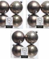 12x kasjmier bruine kerstballen 10 cm glanzende matte kunststof plastic kerstversiering