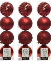 12x kerst rode kerstballen 10 cm glanzende matte glitter kunststof plastic kerstversiering