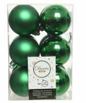 12x kerstgroene kerstballen 6 cm kunststof mat glans