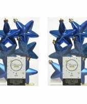 12x kobalt blauwe kunststof sterren kerstballen kersthangers 7 cm