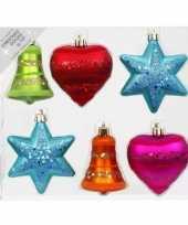12x kunststof kersthangers kerstballen figuurtjes gekleurd 9 cm