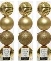 12x licht gouden kerstballen 10 cm glanzende matte glitter kunststof plastic kerstversiering