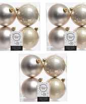 12x licht parel champagne kerstballen 10 cm glanzende matte kunststof plastic kerstversiering