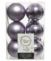 12x lila paarse kerstballen 6 cm kunststof mat glans