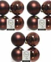 12x mahonie bruine kerstballen 10 cm glanzende matte kunststof plastic kerstversiering
