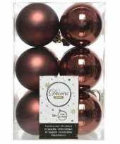 12x mahonie bruine kerstballen 6 cm glanzende matte kunststof plastic kerstversiering