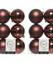 12x mahonie bruine kerstballen 8 cm glanzende matte kunststof plastic kerstversiering