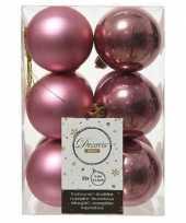 12x oud roze kerstballen 6 cm glanzende matte kunststof plastic kerstversiering