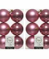 12x oud roze kerstballen 8 cm glanzende matte kunststof plastic kerstversiering