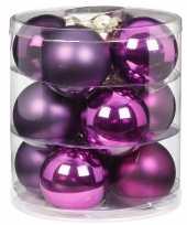 12x paarse glazen kerstballen 8 cm glans en mat