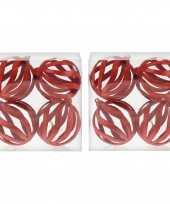 12x rode open draad kerstballen met glitters kunststof 8 cm