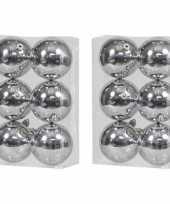12x zilveren kerstballen 10 cm glanzende kunststof plastic kerstversiering