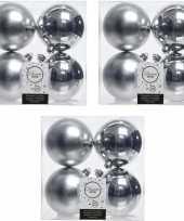 12x zilveren kerstballen 10 cm glanzende matte kunststof plastic kerstversiering