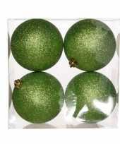 16x appelgroene kerstballen 10 cm glitter kunststof plastic kerstversiering