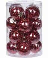 16x doorzichtige kunststof kerstballen met rode decoratie 8 cm