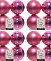 16x fuchsia roze kerstballen 10 cm glanzende matte kunststof plastic kerstversiering