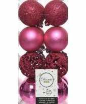 16x fuchsia roze kerstballen 6 cm glanzende matte glitter kunststof plastic kerstversiering
