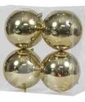16x gouden kerstballen 12 cm glanzende kunststof plastic kerstversiering