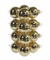16x gouden kerstballen 8 cm glas kerstversiering