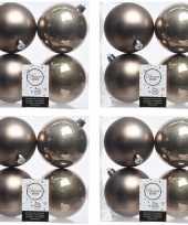 16x kasjmier bruine kerstballen 10 cm glanzende matte kunststof plastic kerstversiering