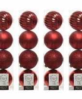 16x kerst rode kerstballen 10 cm glanzende matte glitter kunststof plastic kerstversiering