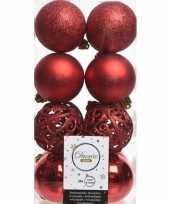 16x kerst rode kerstballen 6 cm glanzende matte glitter kunststof plastic kerstversiering