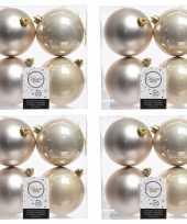16x licht parel champagne kerstballen 10 cm glanzende matte kunststof plastic kerstversiering