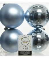 16x lichtblauwe kerstballen 10 cm kunststof mat glans