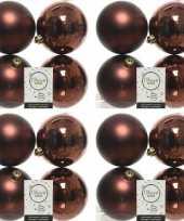 16x mahonie bruine kerstballen 10 cm glanzende matte kunststof plastic kerstversiering