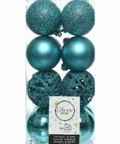 16x turquoise blauwe kerstballen 6 cm glanzende matte glitter kunststof plastic kerstversiering