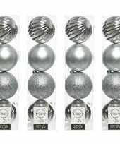 16x zilveren kerstballen 10 cm glanzende matte glitter kunststof plastic kerstversiering