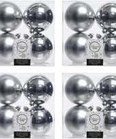 16x zilveren kerstballen 10 cm glanzende matte kunststof plastic kerstversiering 10176417