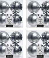 16x zilveren kerstballen 10 cm glanzende matte kunststof plastic kerstversiering