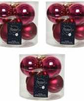 18x bessen roze glazen kerstballen 8 cm glans en mat