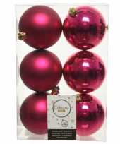 18x bessen roze kerstballen 8 cm kunststof mat glans
