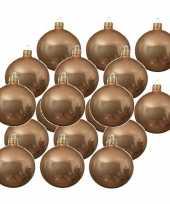 18x donker parel champagne kerstballen 6 cm glanzende glas kerstversiering