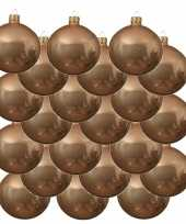18x donker parel champagne kerstballen 8 cm glanzende glas kerstversiering
