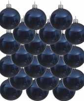 18x donkerblauwe kerstballen 6 cm glanzende glas kerstversiering