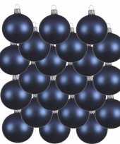 18x donkerblauwe kerstballen 6 cm matte glas kerstversiering