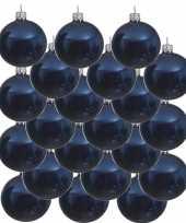 18x donkerblauwe kerstballen 8 cm glanzende glas kerstversiering