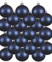 18x donkerblauwe kerstballen 8 cm matte glas kerstversiering