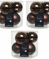 18x donkerbruine glazen kerstballen 8 cm glans en mat