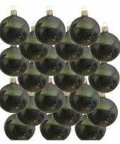 18x donkergroene kerstballen 8 cm glanzende glas kerstversiering